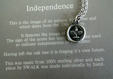 Load image into Gallery viewer, Independence, Antique wax letter seal impression, sterling silver acorn