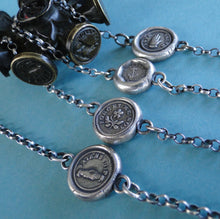 Load image into Gallery viewer, Antique Wax seal Amulet, bracelet, Love, Truth, various sizes, sterling silver.