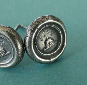 Tiny Sterling Silver earrings, small stud earrings, Wax seal impression, antique 'Beehive' industry and diligence'