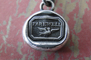 Farewell, Swallow, bird, goodbye, sterling silver, antique wax seal