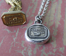 Load image into Gallery viewer, Farewell, Swallow, bird, goodbye, sterling silver, antique wax seal