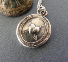 Load image into Gallery viewer, Lovestruck, sterling silver necklace, handmade pendant, valentines, heart, arrows, wax seal jewelry, antique impression, meaningful gift.