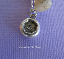 Load image into Gallery viewer, Proved by the Storm.... antique wax seal, sterling silver, survivor, succeed, successful pendant