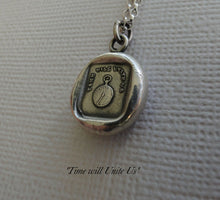 Load image into Gallery viewer, Time will Unite Us…. wax seal impression, sterling silver, SWALK, antique seal impression