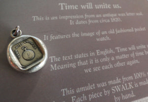 Time will Unite Us…. wax seal impression, sterling silver, SWALK, antique seal impression