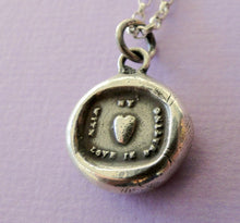 Load image into Gallery viewer, My Heart with love is beating….. sterling silver, wax letter seal impression. Rebus puzzle, love, romantic, heart, love, meaningful jewelry