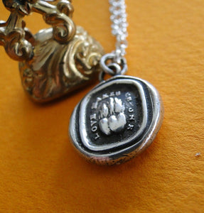 Love Makes us one, sterling silver, antique wax seal impression in sterling silver