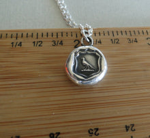 Load image into Gallery viewer, knowledge, raven wax seal jewelry, sterling silver, necklace pendant