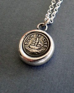 such is life.... sterling silver wax seal jewelry.
