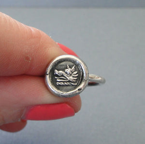 Bravery and Perseverance Ring, Boar wax seal jewelry, sterling silver, amulet