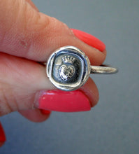 Load image into Gallery viewer, Crowned heart ring, pure love,  wax seal jewelry, sterling silver, amulet