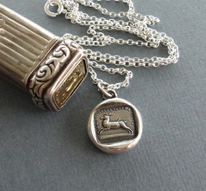 Pain causes me to flee, sterling silver necklace, amulet, pendant,  antique wax seal pendant, sterling silver, handmade , stag, or deer.