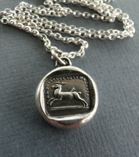 Load image into Gallery viewer, Pain causes me to flee, sterling silver necklace, amulet, pendant,  antique wax seal pendant, sterling silver, handmade , stag, or deer.