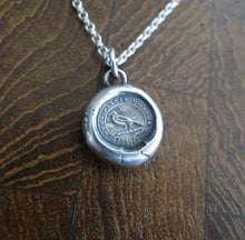 Load image into Gallery viewer, God Feeds the Ravens…. sterling silver Amulet, wax letter seal impression, handmade pendant, crow, raven, religious jewelry, meaningful,