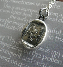 Load image into Gallery viewer, Thy sweetness is my life….. sterling silver, antique wax letter seal Silver necklace, Flower necklace, commitment necklace, love necklace.