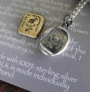 Thy sweetness is my life….. sterling silver, antique wax letter seal Silver necklace, Flower necklace, commitment necklace, love necklace.