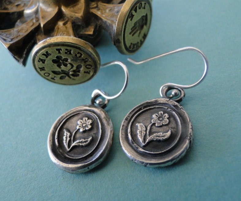 Forget me not flower, (single flower image), wax seal, sterling silver, dangle earrings.