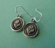 Load image into Gallery viewer, Forget me not flower, (single flower image), wax seal, sterling silver, dangle earrings.