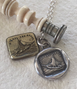 Such is life.... Telle est la vie.  Sterling silver necklace, antique wax seal impression, handmade, pendant, ship, boat, ocean, sailing.