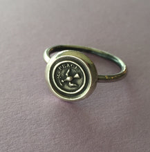Load image into Gallery viewer, Peace ring,  wax seal jewelry, sterling silver, amulet