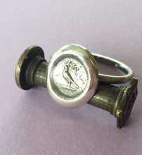 Load image into Gallery viewer, Peace, dove and olive branch ring,  wax seal jewelry, sterling silver, amulet.