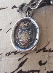 Sterling silver, antique wax letter seal, warning  Beware! I bid you Beware! sterling jewelry, sterling necklace, wax seal necklace,