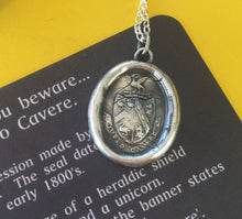 Load image into Gallery viewer, Sterling silver, antique wax letter seal, warning  Beware! I bid you Beware! sterling jewelry, sterling necklace, wax seal necklace,