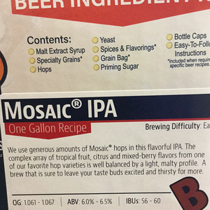 Brewers Best One Gallon Kit- Mosaic IPA