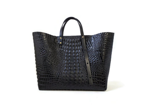 A-Line tote in black croc-effect