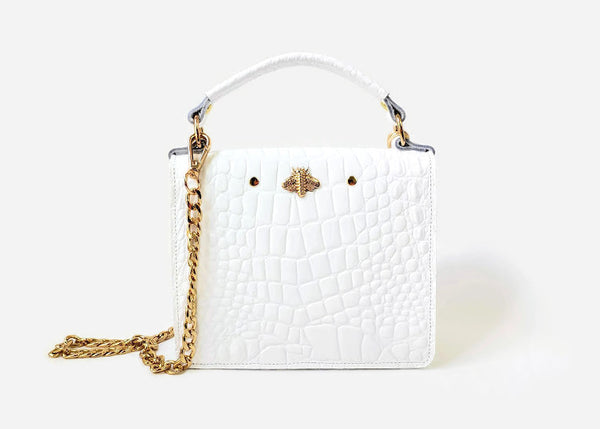 Gavi mini top handle bag in white croc-effect