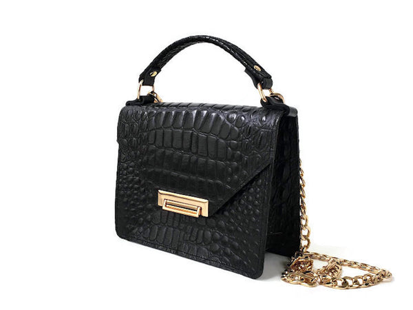 Gavi mini top handle bag in black croc-effect