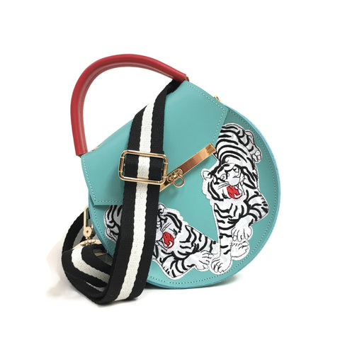 Loel mini crossbody in black and white tiger