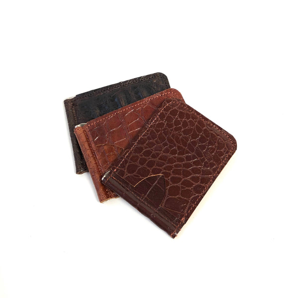 Slim money clip card case in walnut
