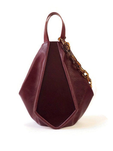 Melina top handle bag in burgundy