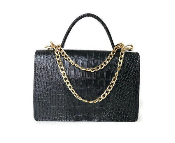 Gavi top handle in black croc-effect