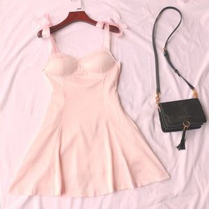 Retro Strappy Pink Dress - yourbabezboutique