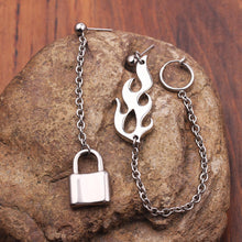 Load image into Gallery viewer, Flame & Chain Earrings
