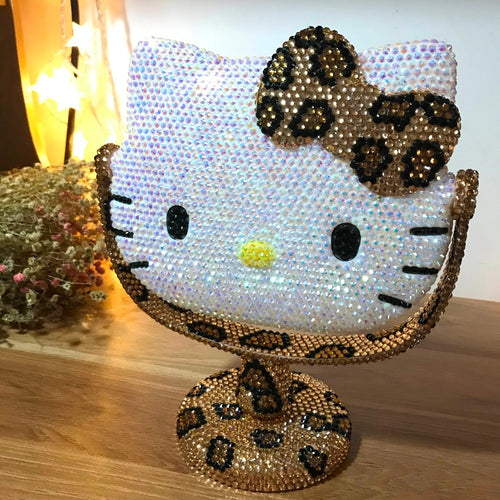 Cheetah Kitty Rhinestone Mirror