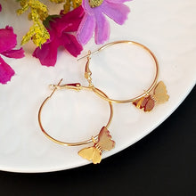 Load image into Gallery viewer, Gold Butterfly Hoops - yourbabezboutique
