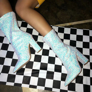 Sequined Glitter Booties