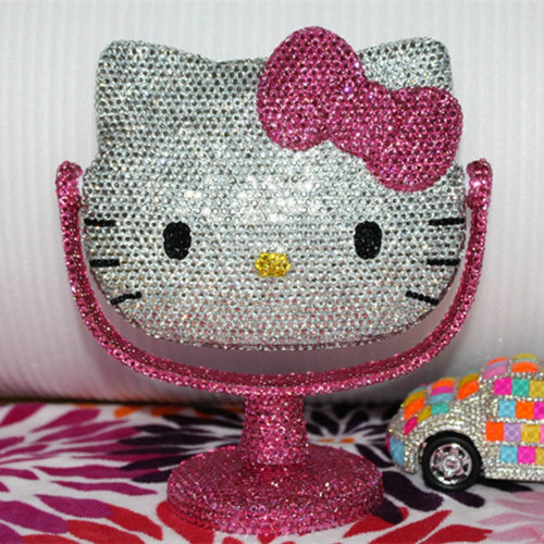 Pink Rhinestone Kitty Mirror