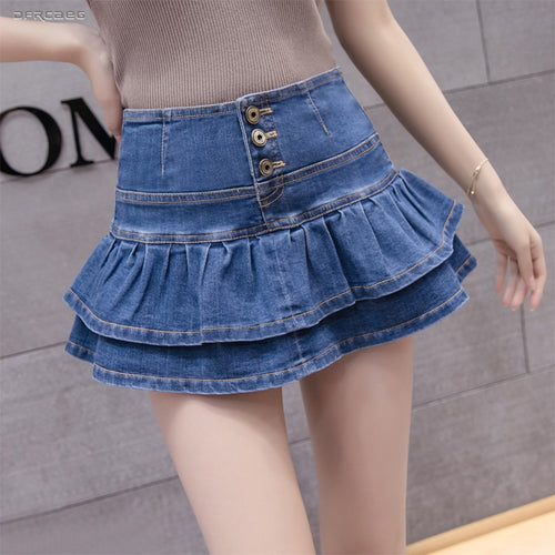 y2k denim ruffle skirt