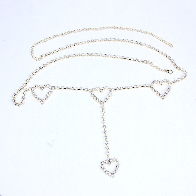 Heart Rhinestone Chain Belt
