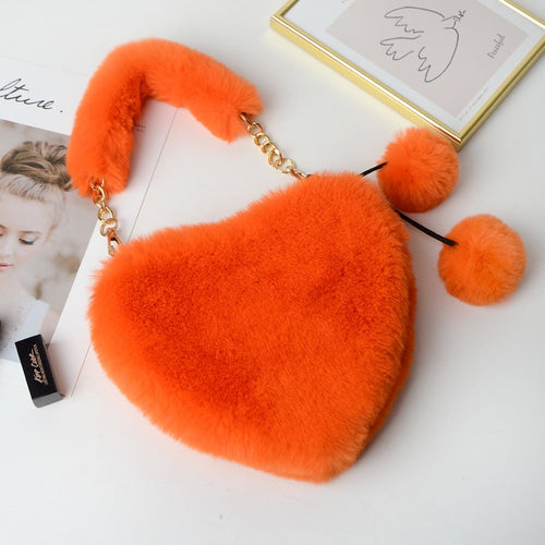 Faux Fur Heart Purse