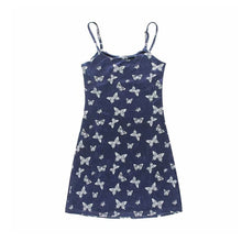 Load image into Gallery viewer, Navy Velvet Butterfly Dress