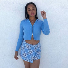 Load image into Gallery viewer, Light Blue Plaid Skirt