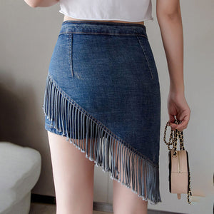 denim fringe skirt