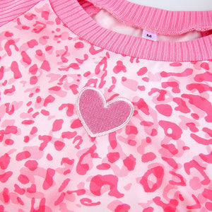Pink Leopard Heart Top