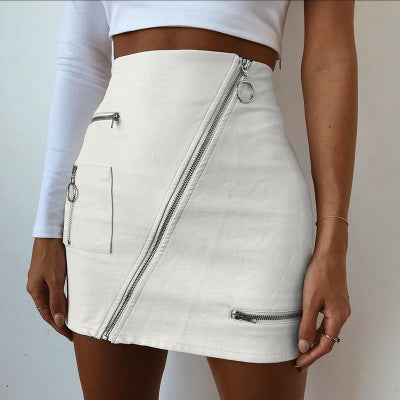 Faux Leather Zipper Skirt - yourbabezboutique