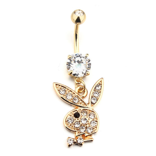 Gold Playboy Belly Button Ring